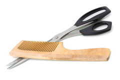 Wooden hairbrush and scissors Stock Photography