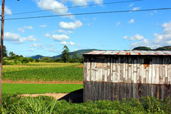 Field hall. Wooden hall in the middle of a agriculture field Stock Photo