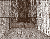 Wooden hall. Vintage drawing. Background Stock Photos