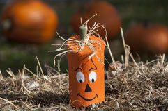 Wooden Halloween Pumpkin Head Stock Photography