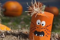Wooden Halloween Pumpkin Head royalty free stock photography