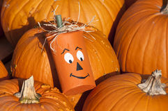 Wooden Halloween Pumpkin Head Stock Photos
