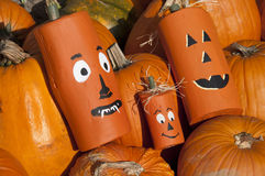Wooden Halloween Pumpkin Heads Stock Image