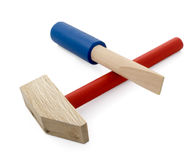 Wooden hammer and screwdriver Royalty Free Stock Photography