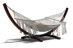 Wooden hammock on white back Stock Photo