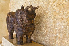 Wooden hand carved ornamental bull Royalty Free Stock Photography