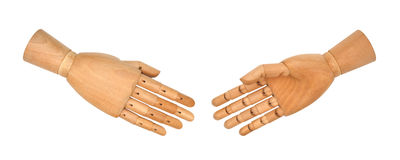 Wooden hand giving a handshake Stock Photography
