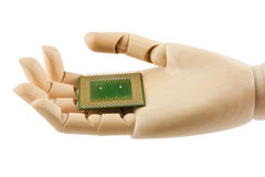 Wooden hand holding a processor Royalty Free Stock Photo