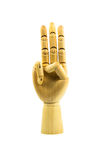 Wooden hand on isolated white Stock Photos