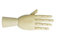 Wooden hand  isolated on white background Royalty Free Stock Photos