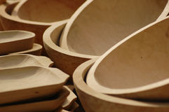 Wooden Hand-made Bowls. Royalty Free Stock Photography