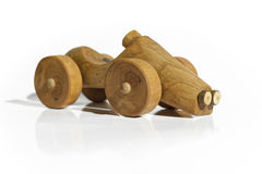 Wooden hand made toy car Stock Photos