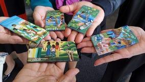 Wooden hand paint Souvenir handmade from Haiti Stock Photo