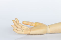 Wooden hand  on white background Stock Photo