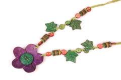 Wooden handcraft. Jewellery texture necklaces Stock Image