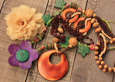 Wooden handcraft  necklaces Royalty Free Stock Image