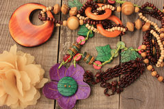 Wooden handcraft  necklaces Royalty Free Stock Photos