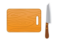 Wooden Handle Knife And Wooden Cutting Board Royalty Free Stock Photography