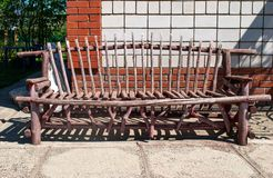 Wooden handmade bench Royalty Free Stock Images