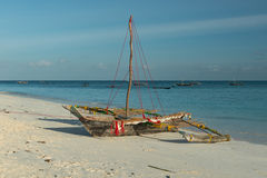 Wooden handmade boat in Zanzibar Stock Images