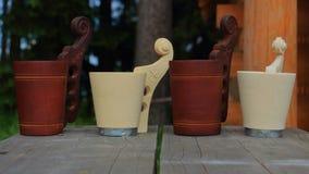 Wooden handmade mugs Stock Photography