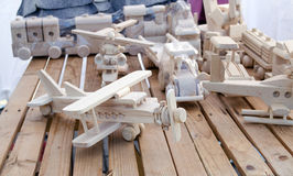 Wooden handmade plane helicopter toy models store Stock Photos
