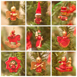 Wooden handmade puppets. Wooden puppets on a christmas-tree Royalty Free Stock Photos