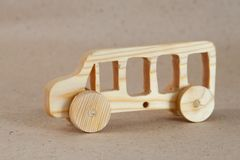 Wooden toy car bus stock image