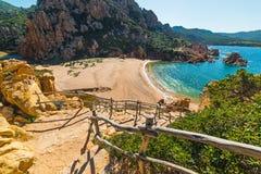Wooden handrail in Li Cossi beach Stock Images