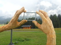 Wooden hands frame in Pana mountains Stock Photo