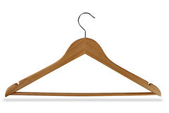 Wooden hanger. Isolated on white background Stock Image