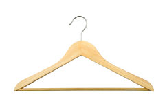 Wooden hanger. Isolated over white background Royalty Free Stock Photo