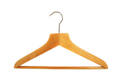 Wooden hanger. Isolated on white background Royalty Free Stock Images