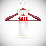 Wooden hanger with advertising label Stock Image