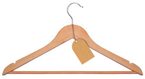 Wooden hanger isolated on a white background Stock Images
