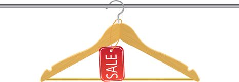 Wooden hanger with sale tag. Vector Royalty Free Stock Images