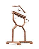 Wooden hanger stand isolated on the white background. 3d illustr Royalty Free Stock Images