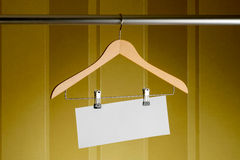 Wooden Hanger with Tag Stock Photo