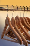 Wooden hangers Stock Images