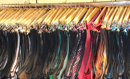 Wooden hangers in fashionable Italian clothes shop Royalty Free Stock Images