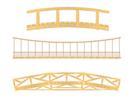 Wooden and hanging bridge illustrations Royalty Free Stock Image