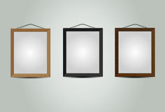 Wooden hanging frames Royalty Free Stock Photos