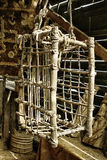 Wooden hanging torture cage. Wooden hanging medieval torture cage Stock Photography