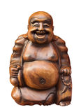 Wooden happy buddha Royalty Free Stock Photography
