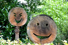 Wooden happy faces Stock Photography