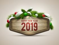 Wooden Happy New Year Signboard stock illustration