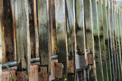 Wooden harbour wall repetition of lines pattern Stock Photos