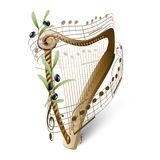 Wooden harp and olives. Wooden harp, musical note and olives Royalty Free Stock Image