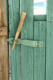 Wooden hasp on the gate Royalty Free Stock Photography