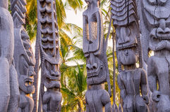 Wooden Hawaiian historical indigenous statues. Religious statues of Hawaii's native polynesian people in Puauhonua o Honaunau National Historical Park on Big Royalty Free Stock Images